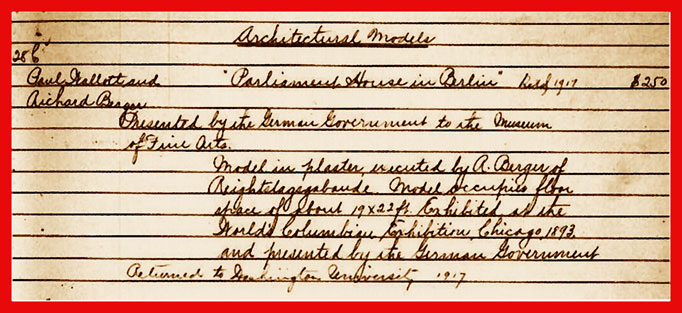 Saint louis Art Museum: registrar card for the Reichstag model, gone without a trace in 1917
